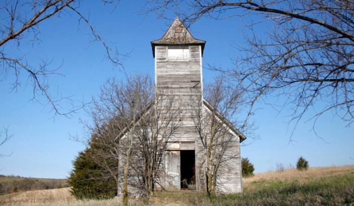 The Methodist church in Monowi, Nebraska stands abandoned